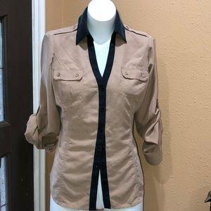 Express tan button up shirt